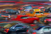 Modern night city car traffic — Stock Photo