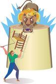 Man taming circus lion — Stock Vector
