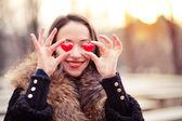 Valentines day girl in love — Stock Photo