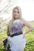 Spring fashion plus size blonde model — Stock Photo