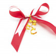 Shiny red satin ribbon — Stock Photo