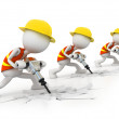 Work team with rock-drill — Stock Photo