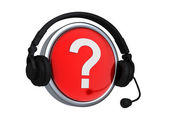 Question mark icon in headphones — Stock Photo