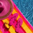 Flip Flops by the Pool — Stok fotoğraf