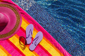 Flip Flops by the Pool — ストック写真