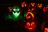 Lighted Halloween Pumpkins — Stock Photo