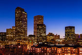 Denver Skyline at Blue Hour Mar 2013 — Stock Photo
