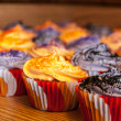 Halloween Orange and Black Cupcakes — Stock Photo