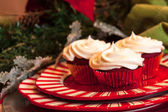 Christmas Dinner Table with Dessert — Stock Photo
