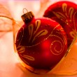 Chrismas Ornaments and Ribbon — Stock Photo
