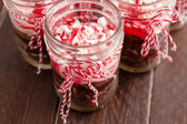 Chocolate Peppermint Cupcakes in a Jar — Stock Photo