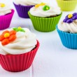 Spring Flower Cupcakes — Stock Photo