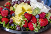 Assorted Fruit and Cheese Tray — Stock Photo