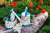 Colorful Gardening Tools in Garden — Stock Photo