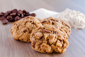 Homemade Chocolate Chip Cookies with Walnuts — Stock Photo