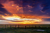 Dramatic Sunset Over Prairie — Stock Photo