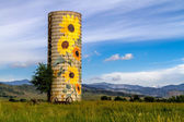 Rural Ranch Sunflower Farm Silo — Stock Photo