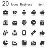 Riflesso di 20 icone affari nero — Vector de stock