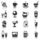 Black beverage icons with reflection — Vecteur