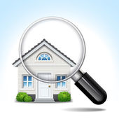 House & magnifying glass — Stock Vector