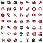 Iconset automobile red & black — Stock Vector