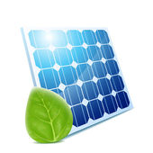 Leaf & solar panel — Stock Vector