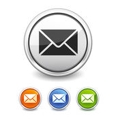 Mail button in four colors — Stock Vector
