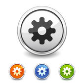 Settings button in four colors — Stock Vector