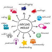 Social media cartoon — Stock Vector