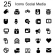 25 basic iconset social media — Stock Vector