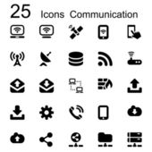 25 basic iconset communication — Stock Vector