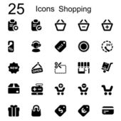 25 basic iconset shopping — Stock Vector