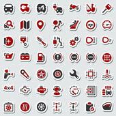 Iconset automobile red & black sticker — Stock Vector