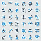 Medical iconset blue & sticker — Stock Vector