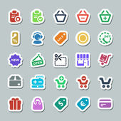 25 basic iconset shopping sticker — Stock Vector