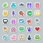 25 basic iconset social media sticker — Stock Vector