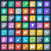 Flat school iconset — Stock Vector