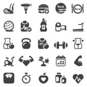 Fitness & health iconset black — Stock Vector