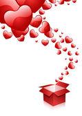 Hearts & box — Stock Vector