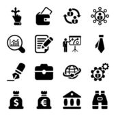 Flat business iconset in black 2 — Stock Vector