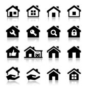 House iconset with reflex — Stok Vektör