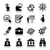 Flat business iconset in black with reflex 2 — Stock Vector