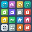 Stock Vector: Flat house iconset