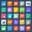 Flat fitness & health iconset colorful — Stock Vector