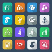 Flat business iconset colorful — Stock Vector