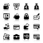Money iconset with reflex — Stock Vector