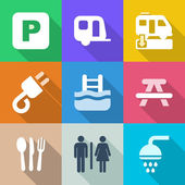 Flat camping iconset 1 — Stock Vector