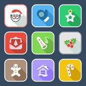 Flat christmas iconset 2 — Stock Vector