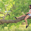 Young beautiful girl sitting on the tree with laptop — Stok video