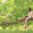 Young beautiful girl sitting on the tree with laptop — Stock Video